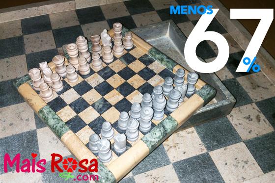 Jogo de Xadrez em Pedra Sab u00e3o feito a m u00e3o direto de OURO PRETO O Tabuleiroé uma Caixa p # Peças Grandes De Xadrez Para Decoração